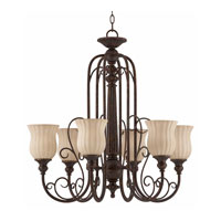 Triarch Industries Mademoiselle 6 Light Chandelier in Tortoise Shell with Ribbed Scavo Glass 31133