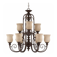 Triarch Industries Mademoiselle 9 Light Chandelier in Tortoise Shell with Ribbed Scavo Glass 31134