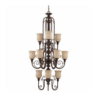 Triarch Industries Mademoiselle 12 Light Entry Chandelier in Tortoise Shell with Ribbed Scavo Glass 31135