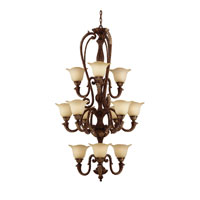 Triarch Industries Marilyn 12 Light Entry Chandelier in Tortoise Shell with Tulip Shaped Glass 31145