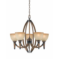 Triarch Industries Olympian 5 Light Chandelier in Torch Bronze with Amber Fashion Tinted Glass 31163