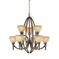 Triarch Industries Olympian 9 Light Chandelier in Torch Bronze with Amber Fashion Tinted Glass 31164