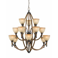 Triarch Industries Olympian 15 Light Entry Chandelier in Torch Bronze with Amber Fashion Tinted Glass 31165