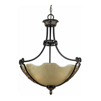Triarch Industries Corinthian 3 Light Pendant in Bronze Iron with Scavo Scalloped Glass 31182