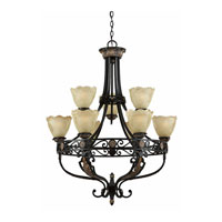 Triarch Industries Corinthian 9 Light Chandelier in Bronze Iron with Scalloped Petal Glass 31184