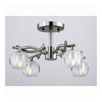 Triarch Industries Cosmo 4 Light Semi-Flush Mount in Satin Nickel with Frosted Ribbed Glass 31191-15