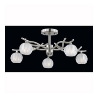 Triarch Industries Cosmo 5 Light Semi-Flush Mount in Satin Nickel with Frosted Ribbed Glass 31191-22