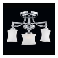 Triarch Industries Astro 3 Light Semi-Flush Mount in Chrome with Frosted Ribbed Glass 31201-14