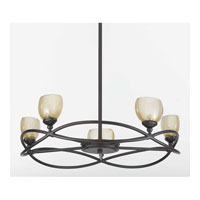 Triarch Industries Retro 5 Light Chandelier in Bronze with Champagne Tinted Glass 31213