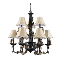 Triarch Froggie 9 Light Chandelier in Crackled Bronze With Antiqued Gold Accents 31304