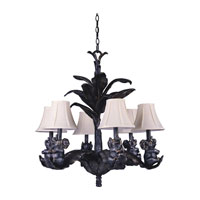 Triarch Industries Elephant 6 Light Chandelier in Bronze Silver Patina With Antique Gold Highlights with Silk Glass 31333