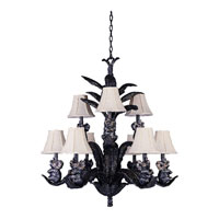 Triarch Industries Elephant 9 Light Chandelier in Bronze Silver Patina With Gold Highlights with Soft Back Shade 31334