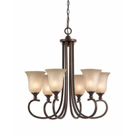 Triarch Industries Lacosta 6 Light Chandelier in English Bronze with Scavo Rainbow Glass 31403