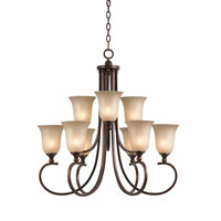 Triarch Industries Lacosta 9 Light Chandelier in English Bronze with Scavo Rainbow Glass 31404