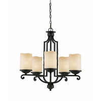 Triarch Industries Granada 5 Light Chandelier in Blacksmith Bronze with Candle Like Antiqued Scavo Glass 31413