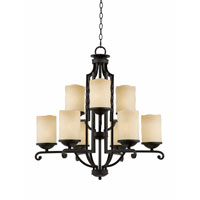 Triarch Industries Granada 9 Light Chandelier in Blacksmith Bronze with Candle Like Antiqued Scavo Glass 31414