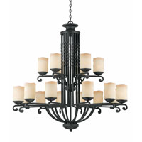 Triarch Industries Granada 18 Light Chandelier in Blacksmith Bronze with Candle Like Antiqued Scavo Glass 31415