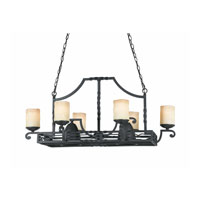 Triarch Industries Granada 8 Light Island Light in Blacksmith Bronze with Candle Like Antiqued Scavo Glass 31417