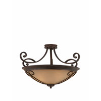 Triarch Industries Corsica 4 Light Semi-Flush Mount in English Bronze with Antiqued Scavo Glass 31431-26
