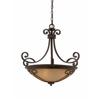 Triarch Industries Corsica 4 Light Pendant in English Bronze with Antiqued Scavo Glass 31432-26