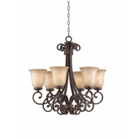 Triarch Industries Corsica 6 Light Chandelier in English Bronze with Antiqued Scavo Glass 31433