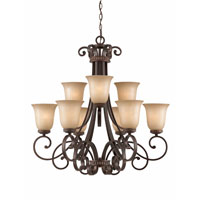 Triarch Industries Corsica 9 Light Chandelier in English Bronze with Antiqued Scavo Glass 31434