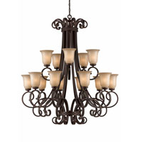 Triarch Industries Corsica 15 Light Chandelier in English Bronze with Antiqued Scavo Glass 31435