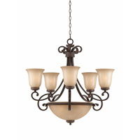 Triarch Industries Corsica 8 Light Chandelier in English Bronze with Antiqued Scavo Glass 31438