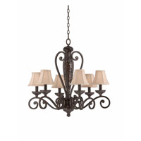 Triarch Industries Jewelry 6 Light Chandelier in Harvest Bronze with Soft Back Glass 31443