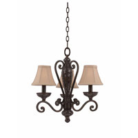 Triarch Industries Jewelry 3 Light Mini Chandelier in Harvest Bronze with Soft Back Glass 31448