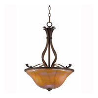 Triarch Industries La Perla 3 Light Pendant in Harvest Bronze with Amber Art Glass 31452