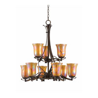 Triarch Industries La Perla 9 Light Chandelier in Harvest Bronze with Amber Art Glass 31454