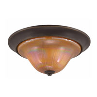 Triarch Industries La Perla 3 Light Flush Mount in Harvest Bronze with Amber Art Glass 31456