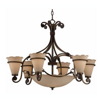 Triarch Industries Coronado 9 Light Chandelier in Harvest Bronze with Regal Scavo Glass 31463