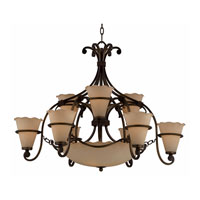 Triarch Industries Coronado 12 Light Chandelier in Harvest Bronze with Scavo Glass 31464
