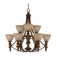Triarch Industries Parthenon 9 Light Chandelier in Weathered Antique Gold with Scavo Painted Glass 31484