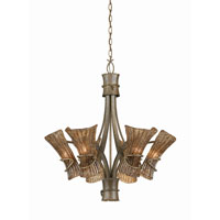 Triarch Industries Bali 6 Light Chandelier in Tropical Bronze with Coffee Tinted Piastra Glass 31533