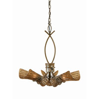 Triarch Industries Bali 3 Light Pendant in Tropical Bronze with Coffee Tinted Piastra Glass 31542