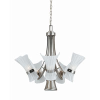 Triarch Industries Bali 6 Light Chandelier in Brushed Steel with White Piastra Glass 31553