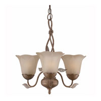 Triarch Industries Petal 3 Light Mini Chandelier in Burnished Gold with Glass With Real Dry Leaves Glass 31618
