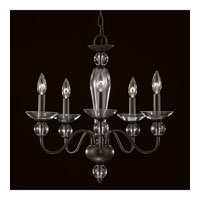 Triarch Industries New Classic 5 Light Mini Chandelier in Textured Black with Hand Blown Crystal Glass 31755
