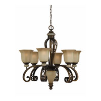 Triarch Industries Ironstone 6 Light Chandelier in Platinum Bronze with Antiqued Hexagon Glass 31903