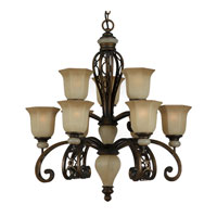 Triarch Industries Ironstone 9 Light Chandelier in Platinum Bronze with Amber Tinted Scavo Glass 31904