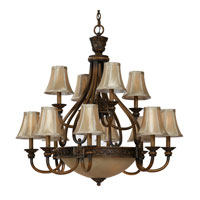 Triarch Industries Vintage 15 Light Chandelier in Weathered Teak with Amber Tinted And Soft Silk Champagne Glass 31914