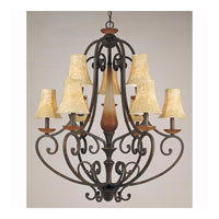 Triarch Industries Carmela 9 Light Chandelier in Spanish Bronze With Carmel Tinted Translucent Column with Faux Leather Glass 32064