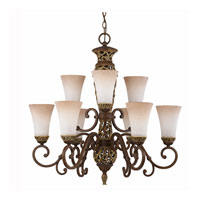 Triarch Industries Filigree 9 Light Chandelier in Aged Bronze with Marble Glass 32104