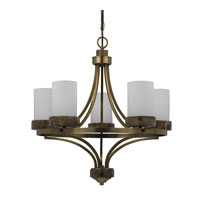 Triarch Industries Travertino 5 Light Chandelier in Burnuished Brass with Opal White Glass 32123