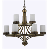 Triarch Industries Travertino 9 Light Chandelier in Burnuished Brass with Opal White Glass 32124