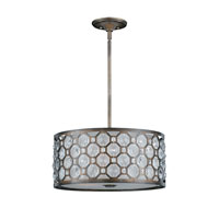 Triarch Industries Cartier 3 Light Pendant in Hand Painted Weathered Bronze with Crystal Accents Glass 32152-19