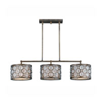 Triarch Industries Cartier 3 Light Island Light in Hand Painted Weathered Bronze with Crystal Accents Glass 32158